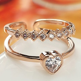 Ericdress Vogue Diamante Heart Shape Open Ring