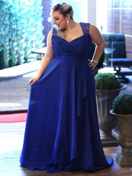 Ericdress V Neck Pleats Lace Hollow Plus Size Evening Dress