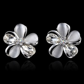 Ericdress Gorgeous Opal Flower Stud Earrings