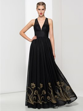 Ericdress V Neck Embroidery A-Line Evening Dress