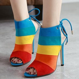 Ericdress Color Block Peep-Toe Stiletto Sandals