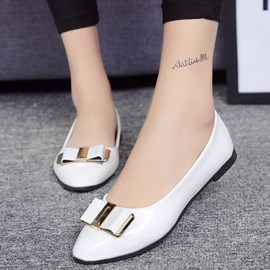 Ericdress Korean PU Point Toe Slip-On Flats