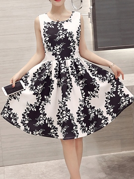 Ericdress Floral Print Pleated Round Neck Sleeveless Casual Dress