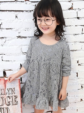 Ericdress Long Sleeve Plain Lace Girls Dress