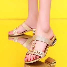 Ericdress Beading Sequins Open-Toe Flat Sandals