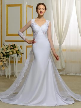 Ericdress Fantastic V Neck Long Sleeves Backless Mermaid Wedding Dress