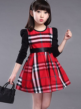 Ericdress Color Block Plaid Girls Dress