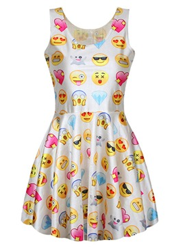 Ericdress Emoji Sleeveless Casual Dress