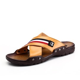Ericdress Striped Open-Toe Men's Beach Sandals