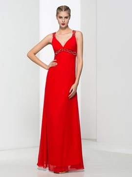 Ericdress Straps Beading Red Prom Dress
