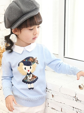 Ericdress Cartoon Lapel Girls Sweater