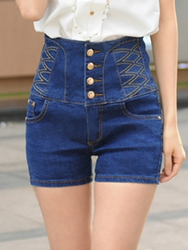 Ericdress Slim Single-Breasted Denim Shorts
