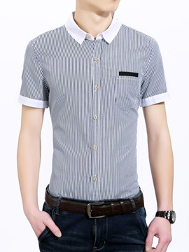 Ericdress Stripe Short Sleeve Slim Men's Shirt