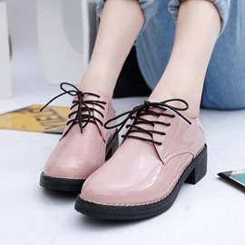 Ericdress Pu Lace up Square Heel Flats