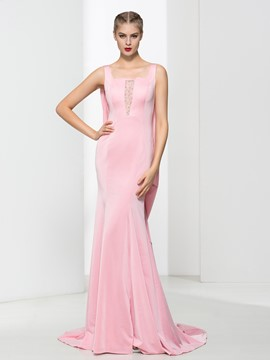 Ericdress Square Neck Beading Mermaid Evening Dress