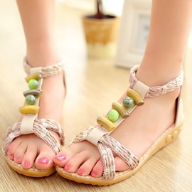 Ericdress Bohemian Kintting Flat Sandals