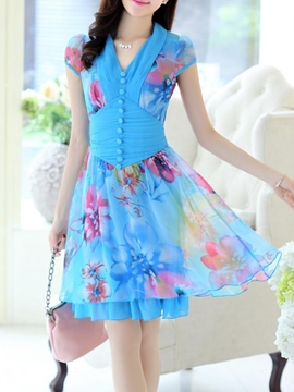 Ericdress V-Neck Floral Print Casual Dress