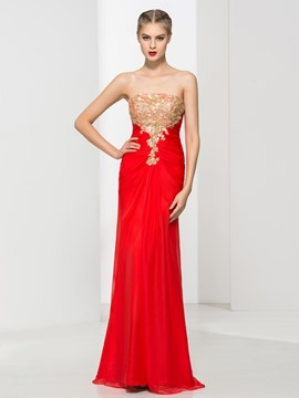 Ericdress Strapless Sequins Sheath Evening Dress