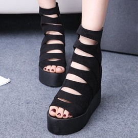 Ericdress Suede Hollow Out Wedge Sandals