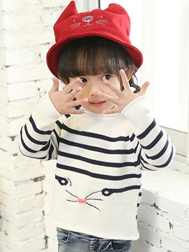 Ericdress Cartoon Stripe Girls Sweater