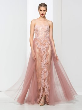 Ericdress Strapless A-Line Appliques Lace Sweep Train Evening Dress