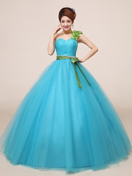 Ericdress One-Shoulder Ball Gown Beading Pearls Pleats Quinceanera Dress
