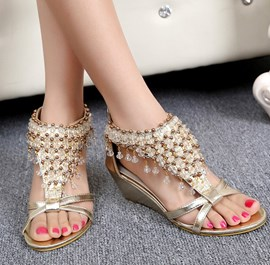 Ericdress Bohemian Beads Wedge Sandals