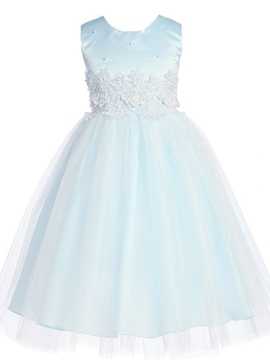 Beautiful Jewel Appliques Flower Girl Dress