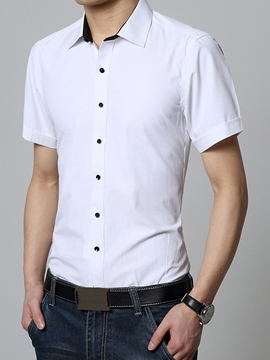 Ericdress Plain Short Sleeve Men's Shirt