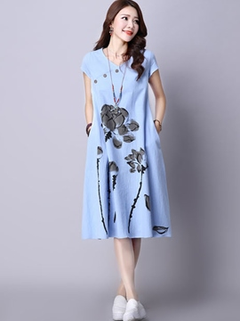 Ericdress A-Line Print V-Neck Buttons Casual Dress