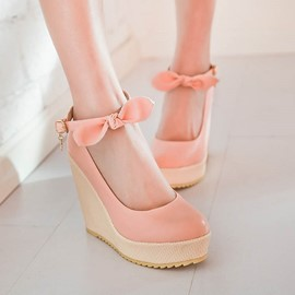 Ericdress Bowtie Round Toe Wedges