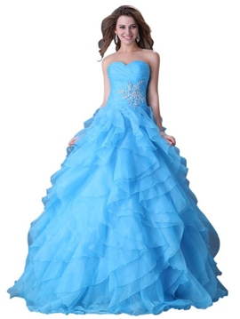 Ericdress Sweetheart Ball Gown Beading Cascading Ruffles Pleats Quinceanera Dress
