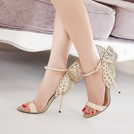Ericdress Butterfly Patchwork Open Toe Stiletto Sandals