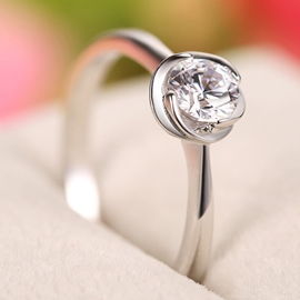 Ericdress Twisted Rose Diamante Silver Ring