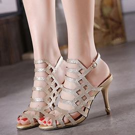 Ericdress Roman Hollow Out Peep Toe Stiletto Sandals