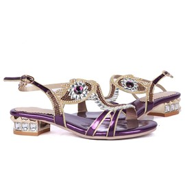 Ericdress Luxurious Rhinestone Square Heel Sandals