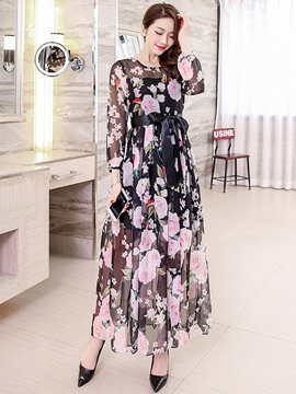 Ericdress Flower Print Lace-Up Expansion Maxi Dress