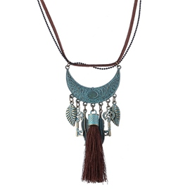 Ericdress Vintage Leaf Key Tassel Necklace