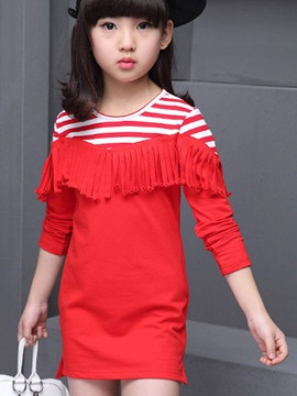 Ericdress Stripe Tassel Girls Dress