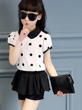 Ericdress Polka Dots Top Girls Shorts Outfit