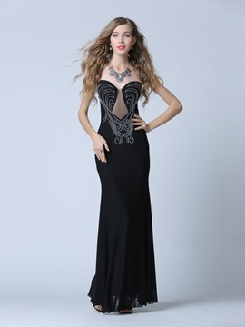 Ericdress Sheath Sweetheart Beading Zipper-Up Evening Dress