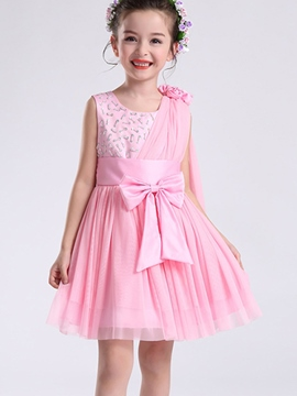 Ericdress Bowknot Girls Sleeveless Dress