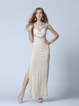 Ericdress Scoop Neck Beading Side-Slit Sheath Evening Dress