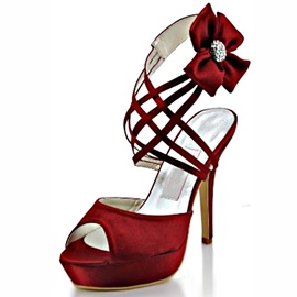 Ericdress Cross Strap Red Bowtie Stiletto Sandals