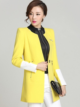 Ericdress Slim Color Block Blazer