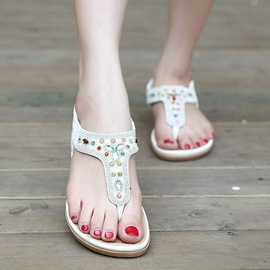 Ericdress Elastic Band Rhinestone Thong Flat Sandals