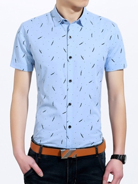 Ericdress Leaf Print Short Sleeve Men's Shirt