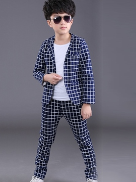 Ericdress Casual Plaid Boys Pants Outfit