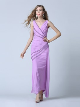 Ericdress V-Neck Column Beading Pleats Floor-Length Evening Dress