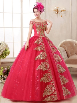Ericdress Off-the-Shoulder Ball Gown Appliques Floor-Length Quinceanera Dress